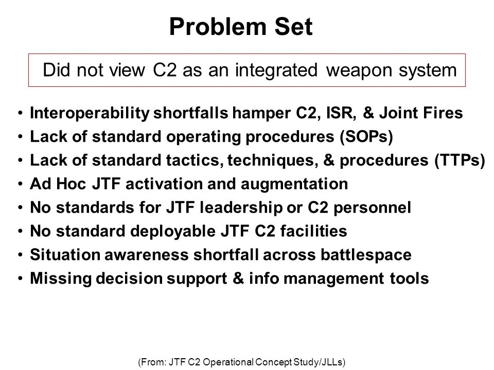 Problem Set Did not view C2 as an integrated weapon system