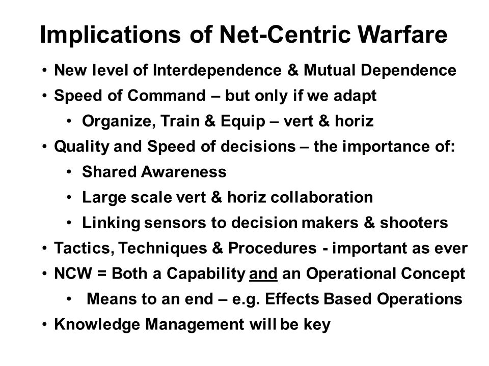 Implications of Net-Centric Warfare