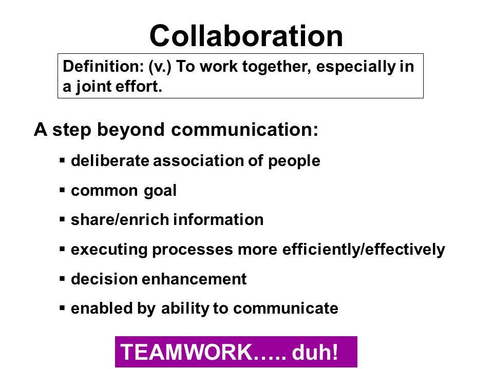Collaboration TEAMWORK….. duh! A step beyond communication: