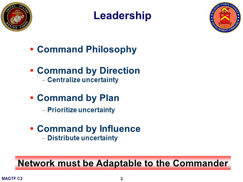 Leadership Command Philosophy Command by Direction Command by Plan