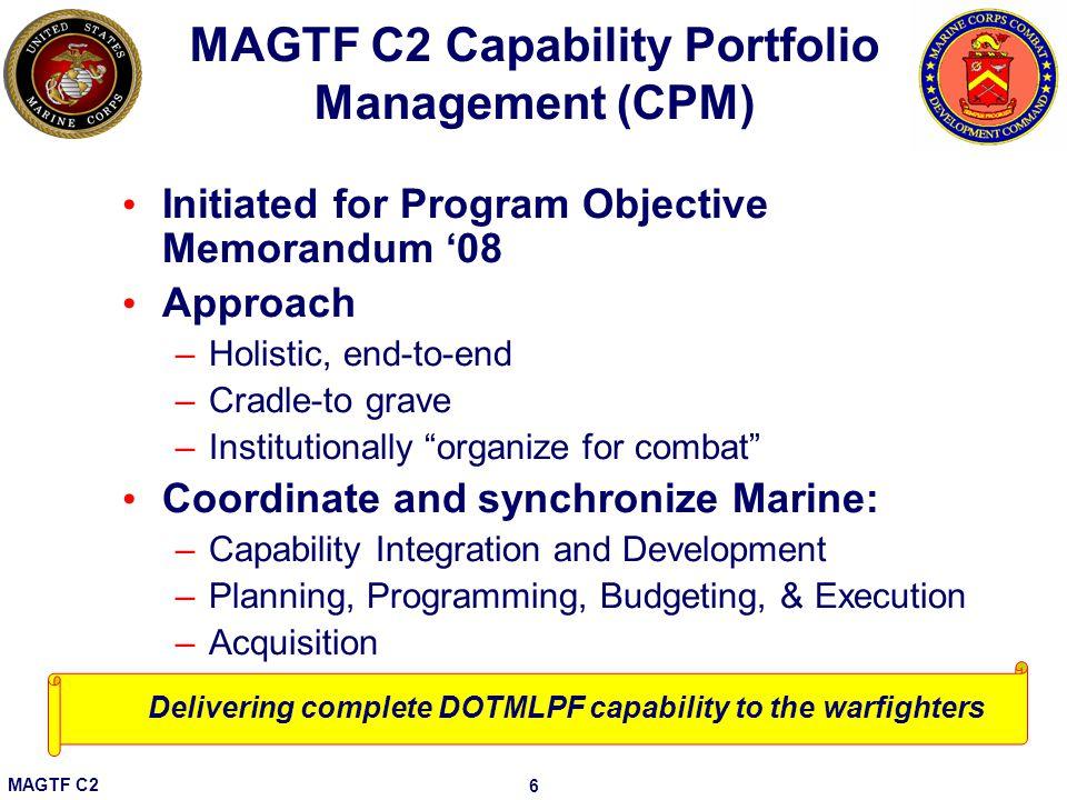 MAGTF C2 Capability Portfolio Management (CPM)