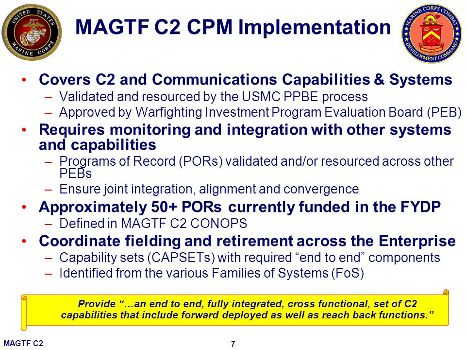 MAGTF C2 CPM Implementation