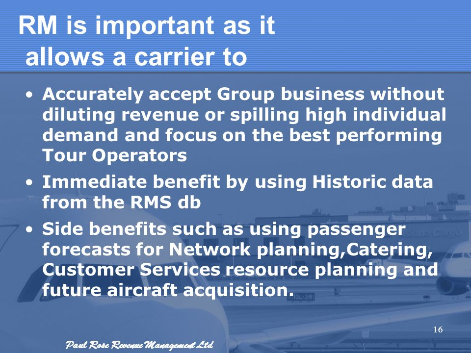 RM is important as it allows a carrier to