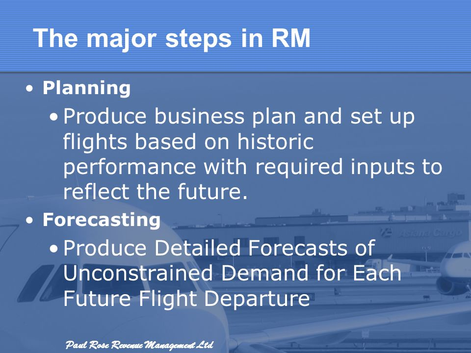 The major steps in RM Planning. Produce business plan and set up flights based on historic performance with required inputs to reflect the future.