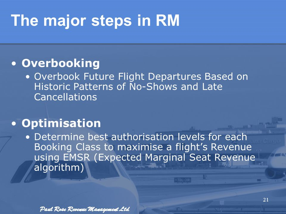 The major steps in RM Overbooking Optimisation