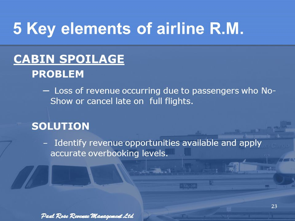 5 Key elements of airline R.M.