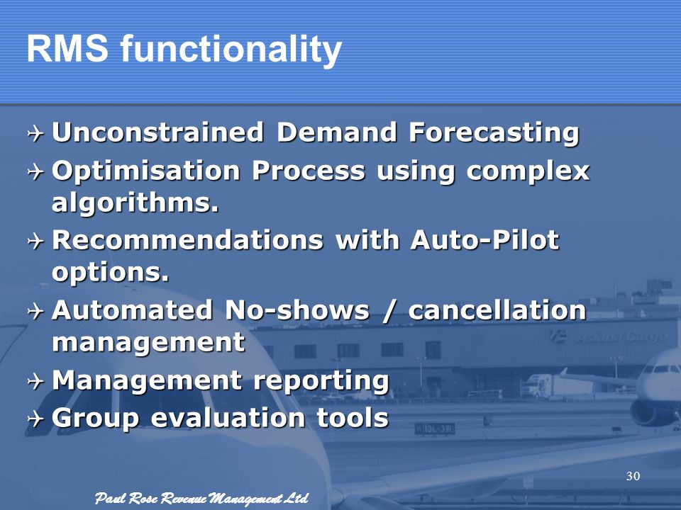 RMS functionality Unconstrained Demand Forecasting