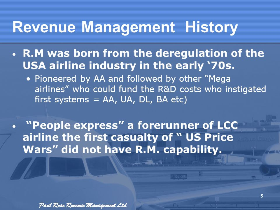 Revenue Management History