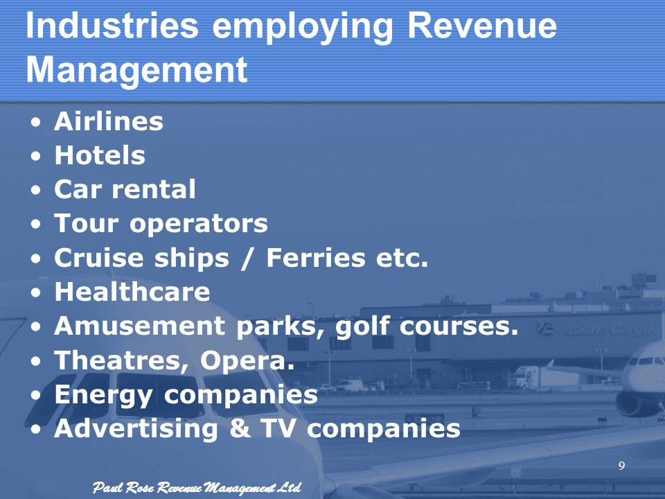 Industries employing Revenue Management