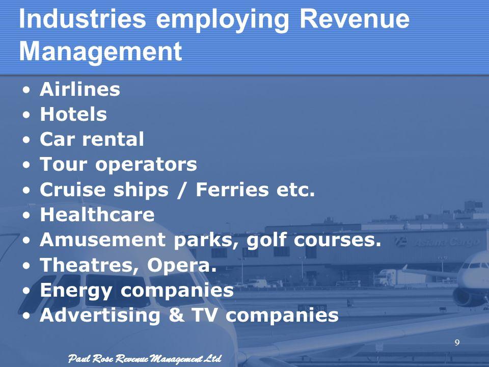 Industries employing Revenue Management