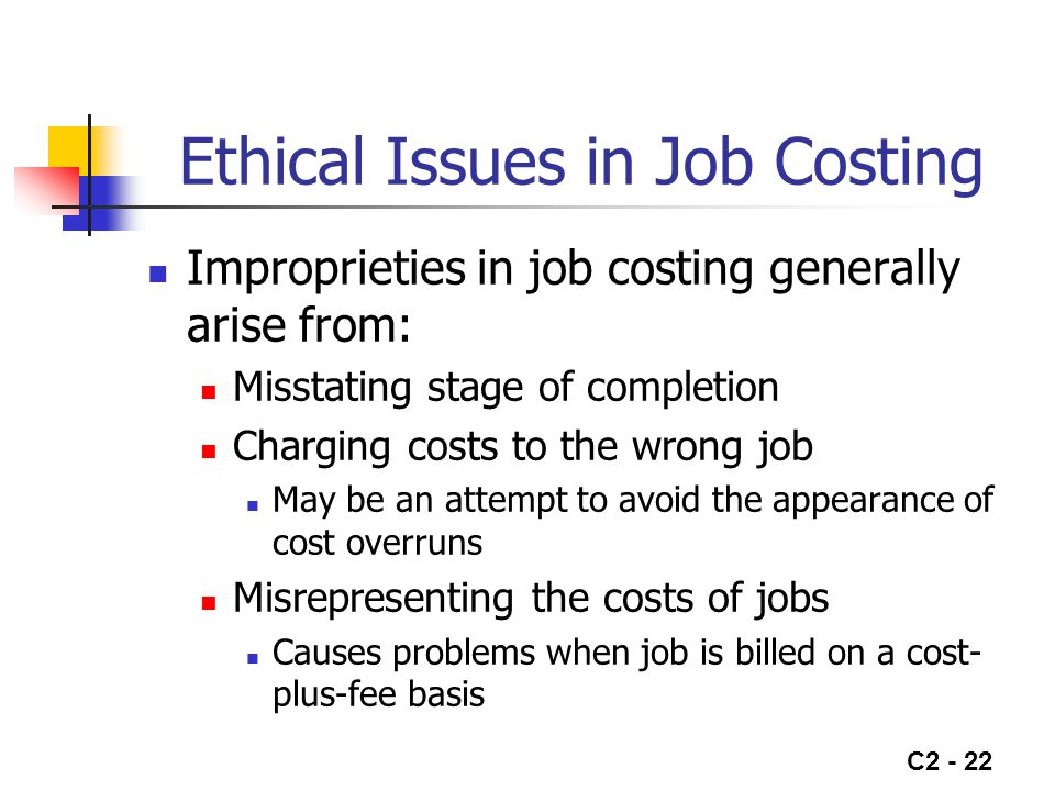 Ethical Issues in Job Costing