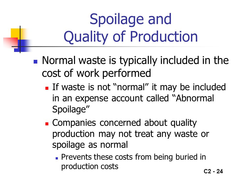 Spoilage and Quality of Production