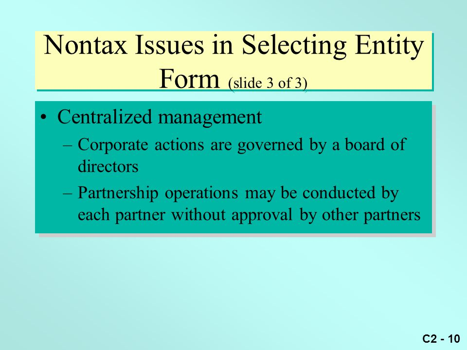 Nontax Issues in Selecting Entity Form (slide 3 of 3)