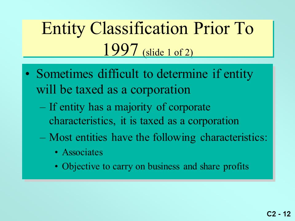 Entity Classification Prior To 1997 (slide 1 of 2)