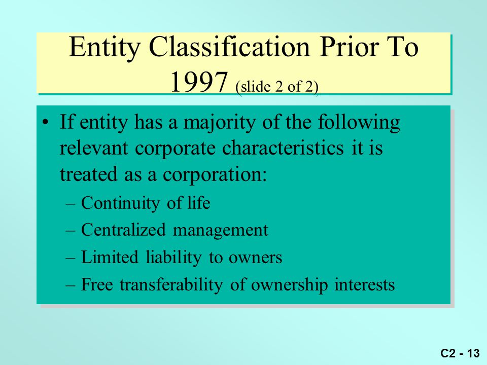 Entity Classification Prior To 1997 (slide 2 of 2)