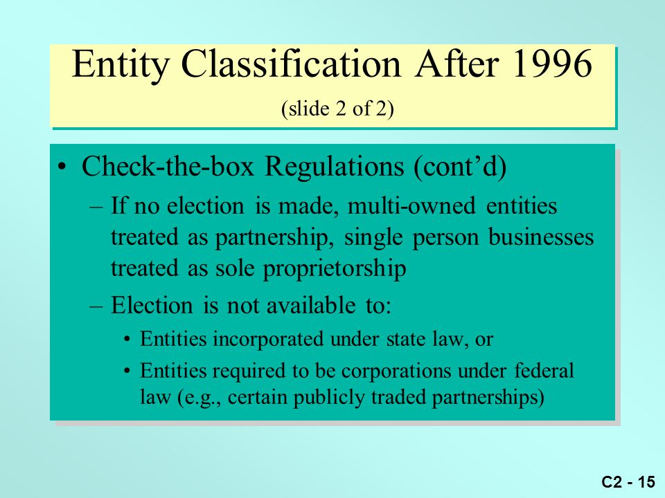 Entity Classification After 1996 (slide 2 of 2)
