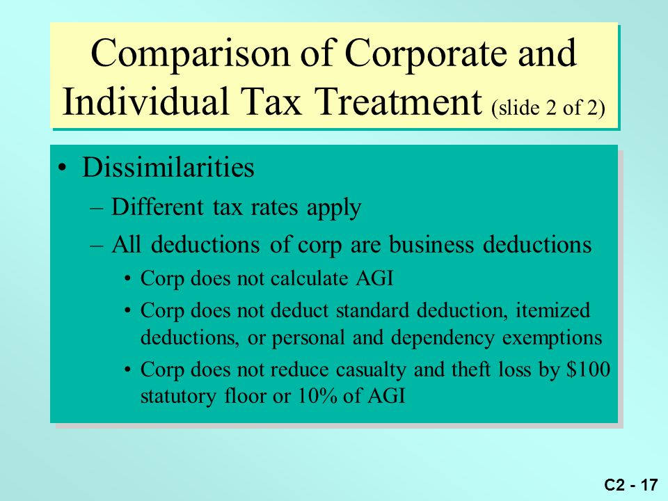 Comparison of Corporate and Individual Tax Treatment (slide 2 of 2)