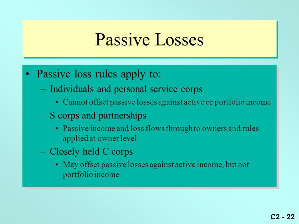 Passive Losses Passive loss rules apply to: