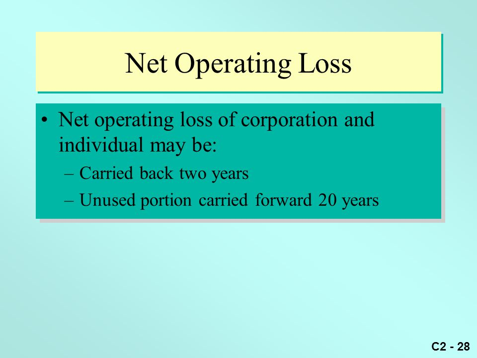 Net Operating Loss Net operating loss of corporation and individual may be: Carried back two years.