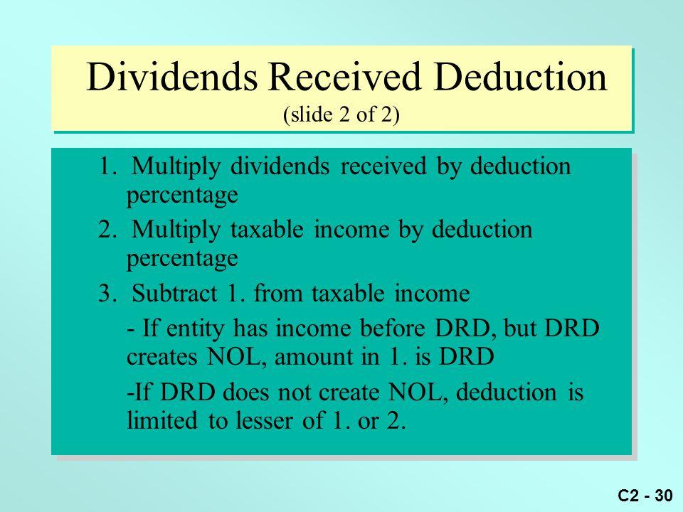 Dividends Received Deduction (slide 2 of 2)