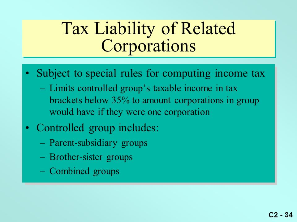 Tax Liability of Related Corporations