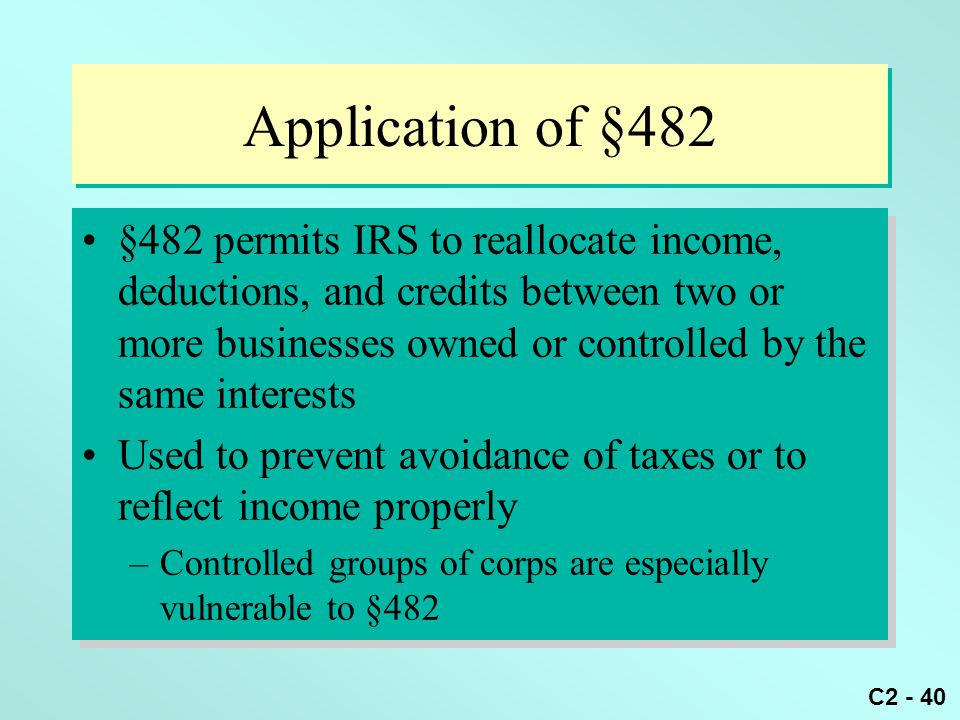 Application of §482
