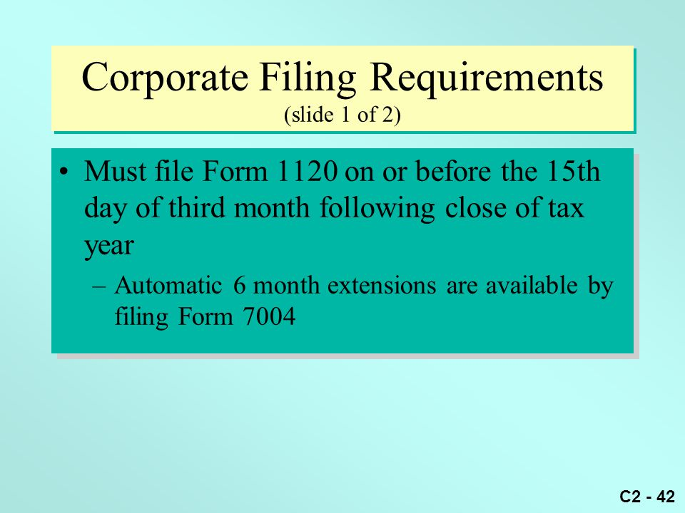 Corporate Filing Requirements (slide 1 of 2)