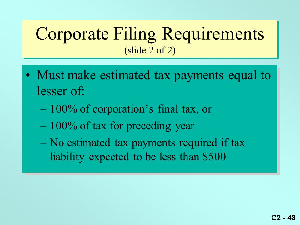Corporate Filing Requirements (slide 2 of 2)