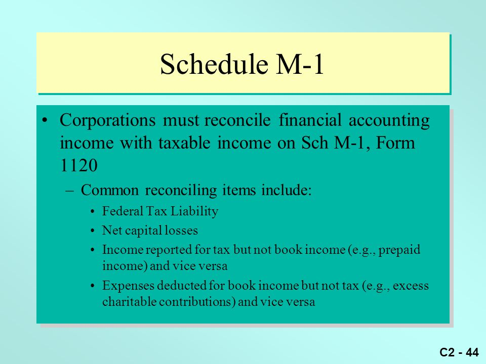 Schedule M-1 Corporations must reconcile financial accounting income with taxable income on Sch M-1, Form 1120.