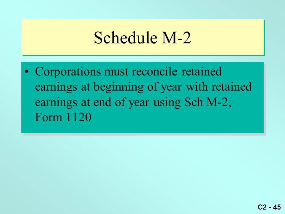 Schedule M-2 Corporations must reconcile retained earnings at beginning of year with retained earnings at end of year using Sch M-2, Form 1120.