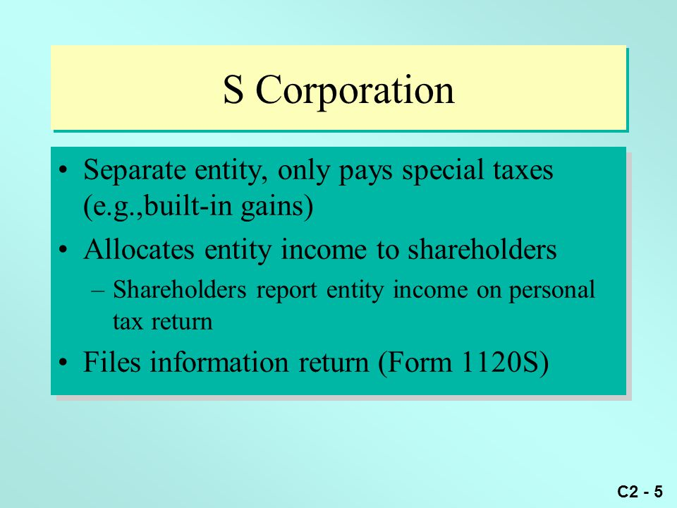 S Corporation Separate entity, only pays special taxes (e.g.,built-in gains) Allocates entity income to shareholders.