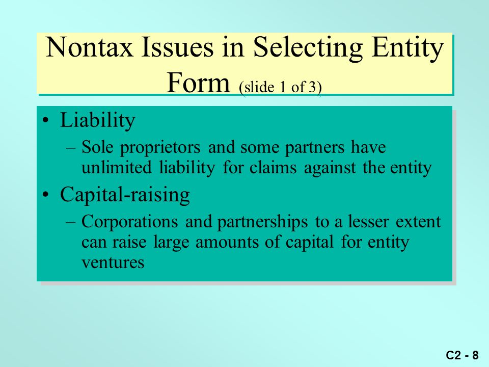 Nontax Issues in Selecting Entity Form (slide 1 of 3)