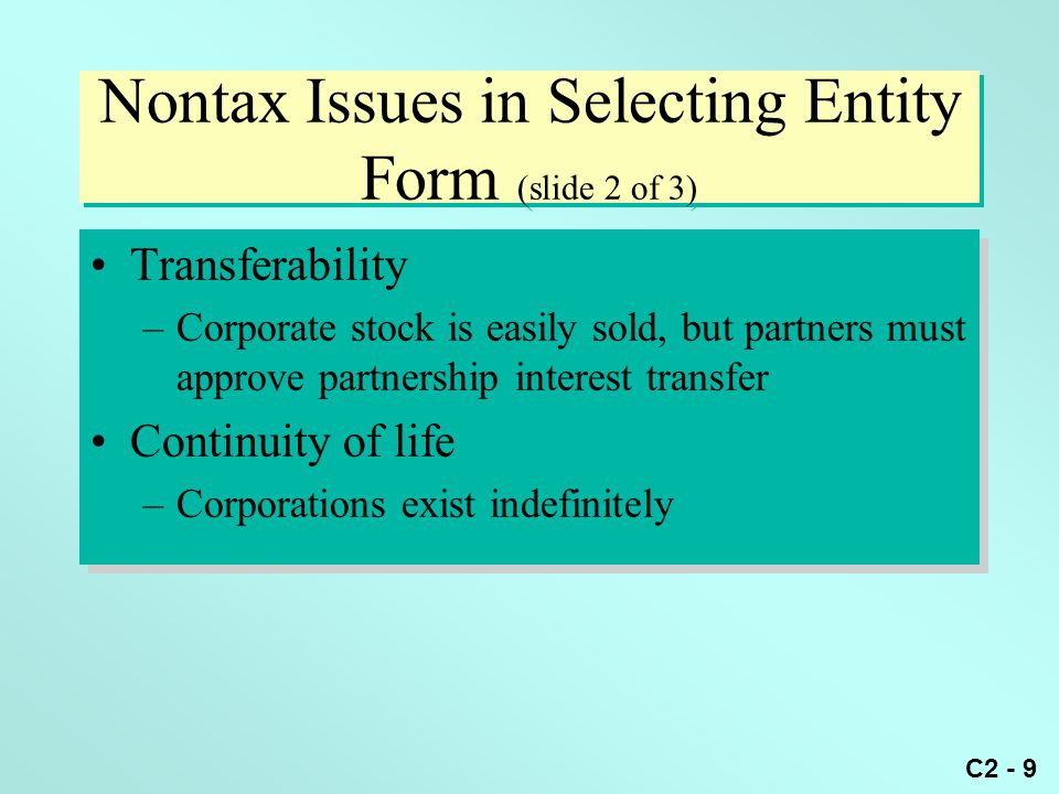 Nontax Issues in Selecting Entity Form (slide 2 of 3)