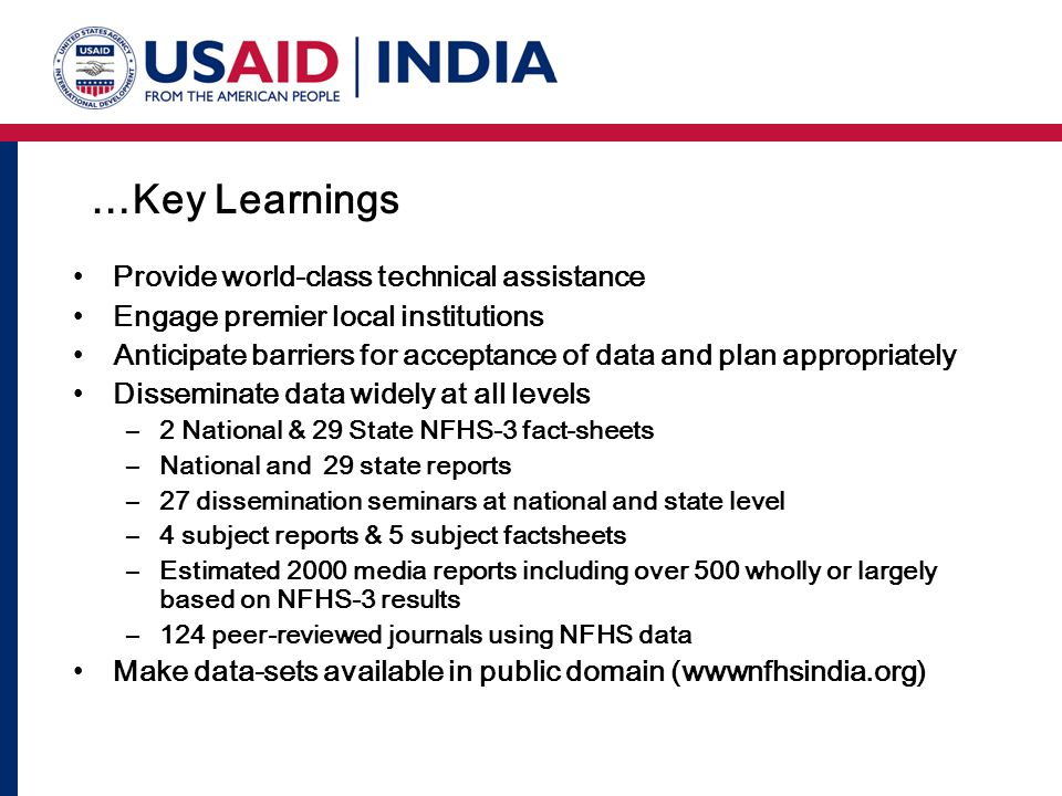 …Key Learnings Provide world-class technical assistance