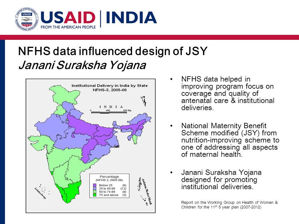 NFHS data influenced design of JSY Janani Suraksha Yojana