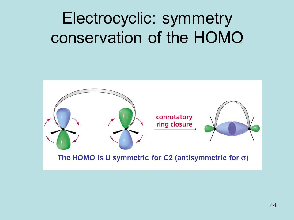 Electrocyclic: symmetry conservation of the HOMO