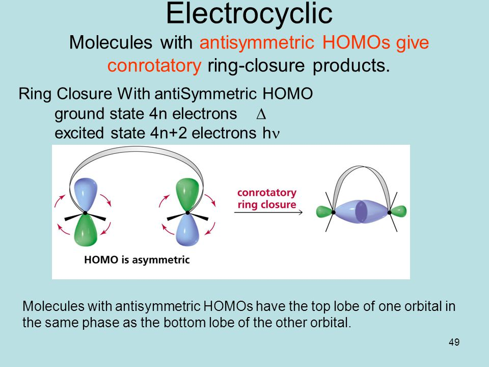 Electrocyclic Molecules with antisymmetric HOMOs give conrotatory ring-closure products.