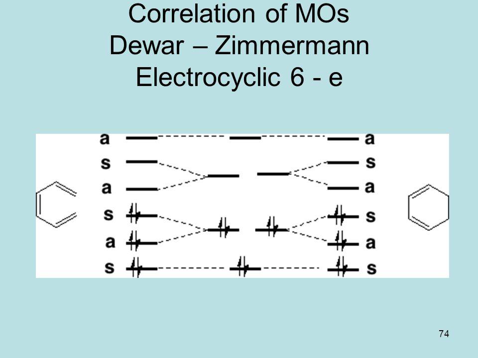 Correlation of MOs Dewar – Zimmermann Electrocyclic 6 - e