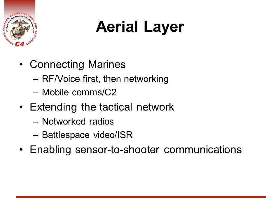 Aerial Layer Connecting Marines Extending the tactical network