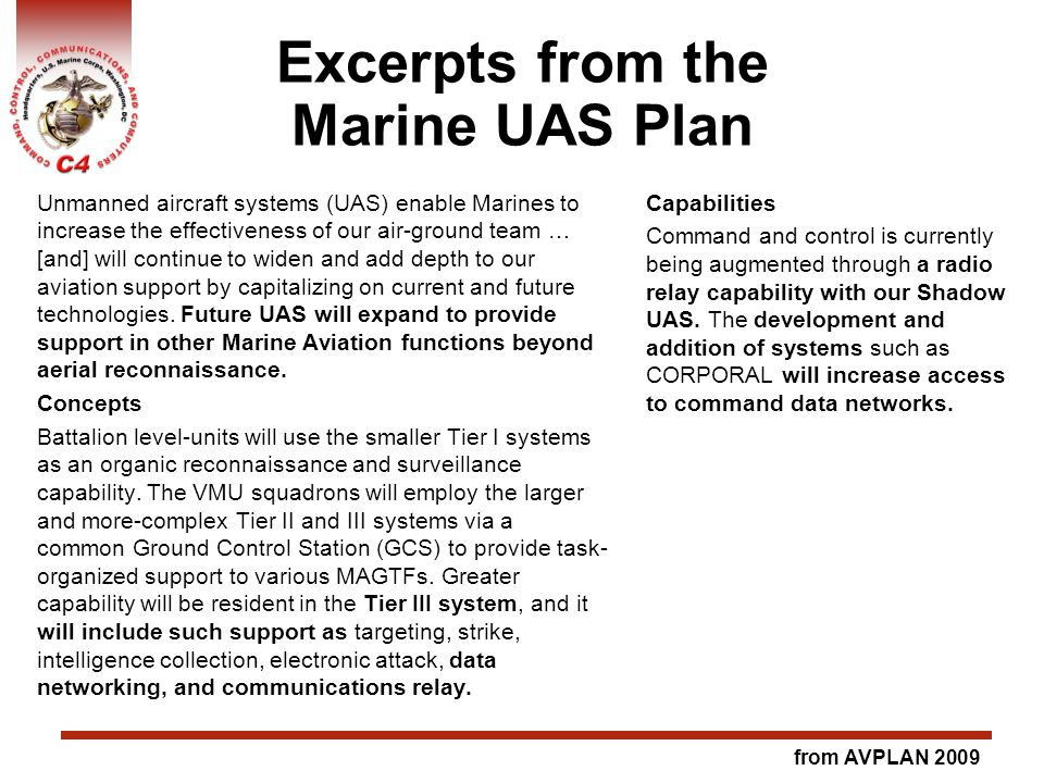 Excerpts from the Marine UAS Plan