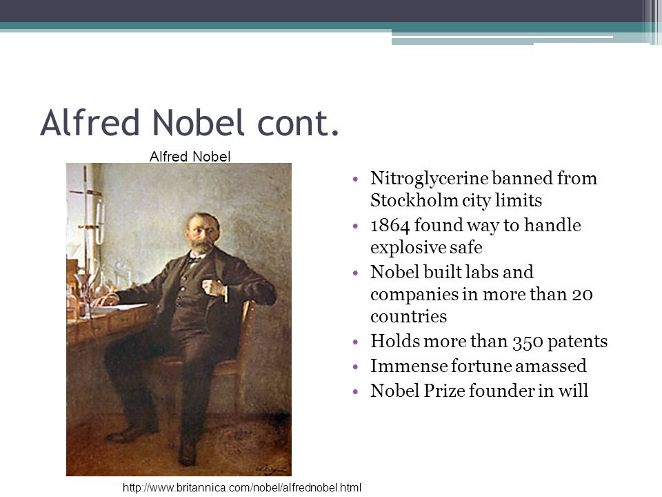 Alfred Nobel cont. Nitroglycerine banned from Stockholm city limits