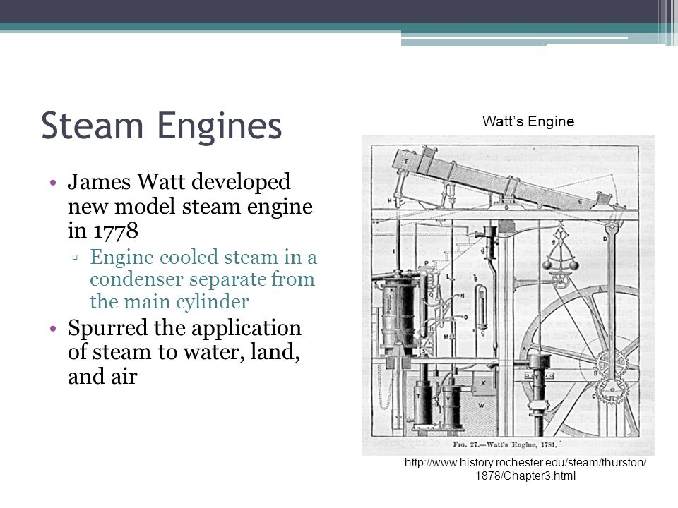 Steam Engines James Watt developed new model steam engine in 1778