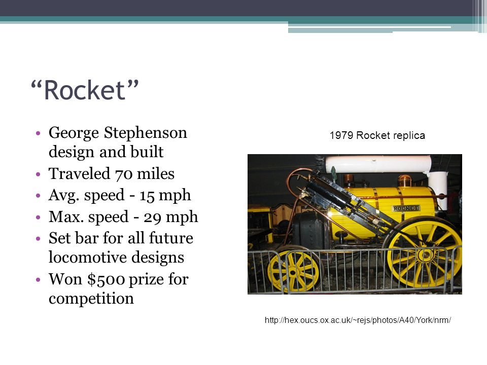 Rocket George Stephenson design and built Traveled 70 miles