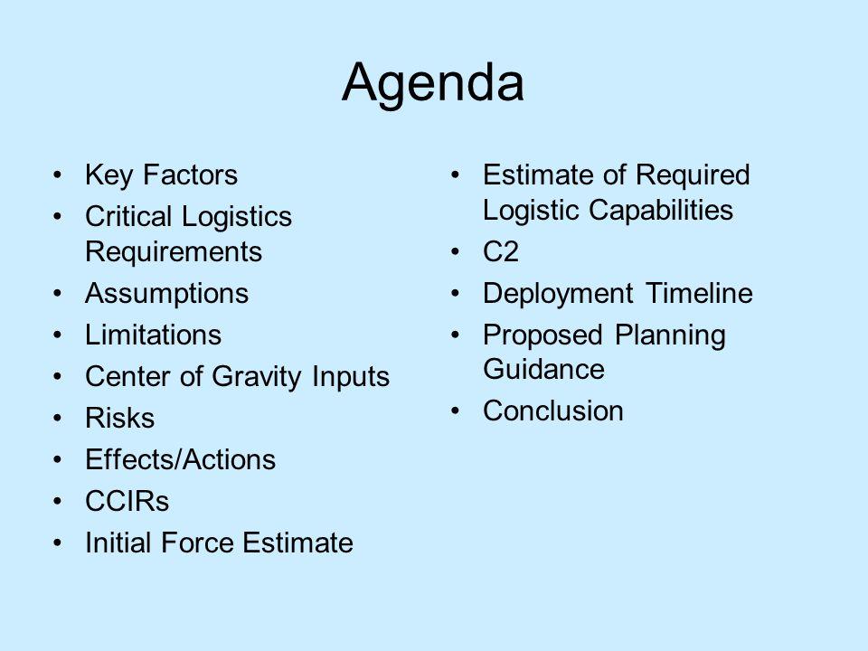 Agenda Key Factors Critical Logistics Requirements Assumptions