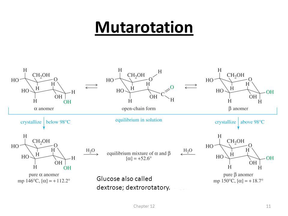 Mutarotation Glucose also called dextrose; dextrorotatory. Chapter 12