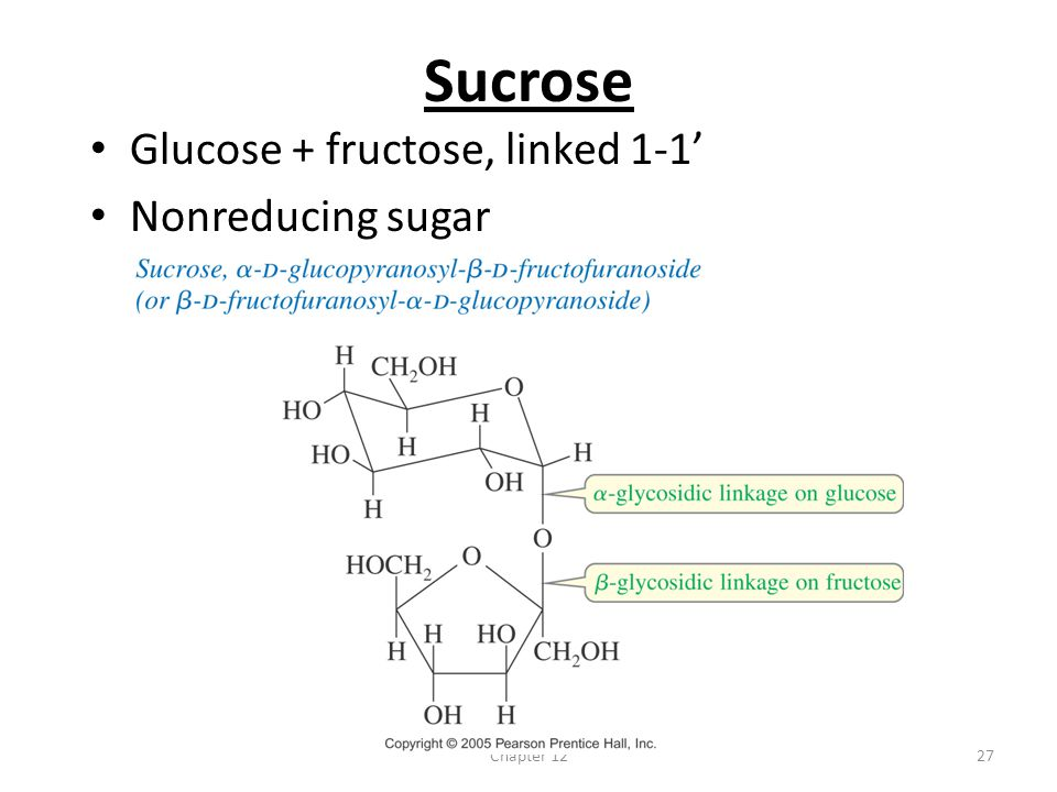 Sucrose Glucose + fructose, linked 1-1' Nonreducing sugar Chapter 12