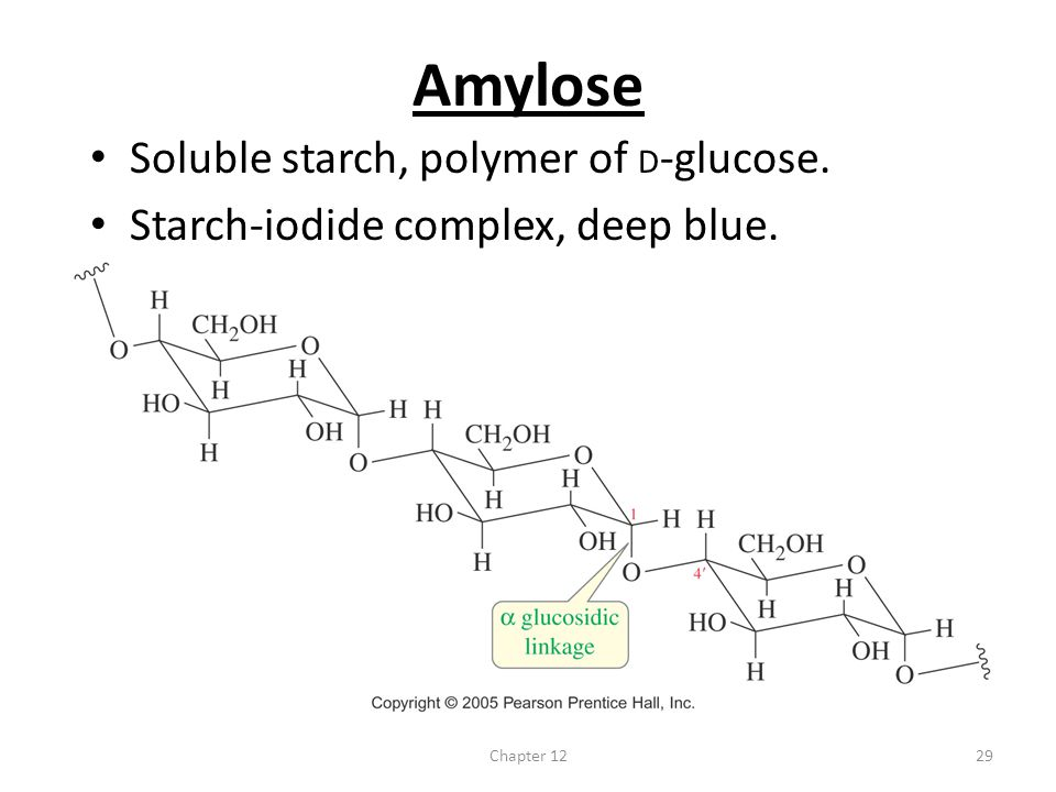 Amylose Soluble starch, polymer of D-glucose.