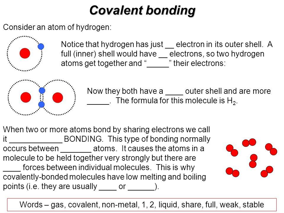 Covalent bonding Consider an atom of hydrogen: