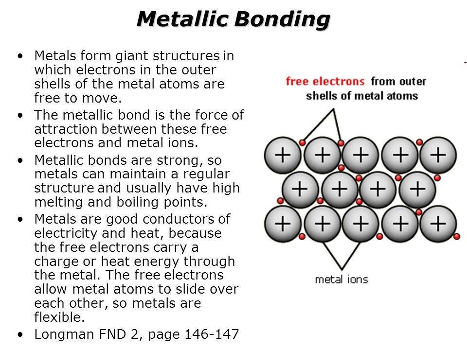 Metallic Bonding Metals form giant structures in which electrons in the outer shells of the metal atoms are free to move.