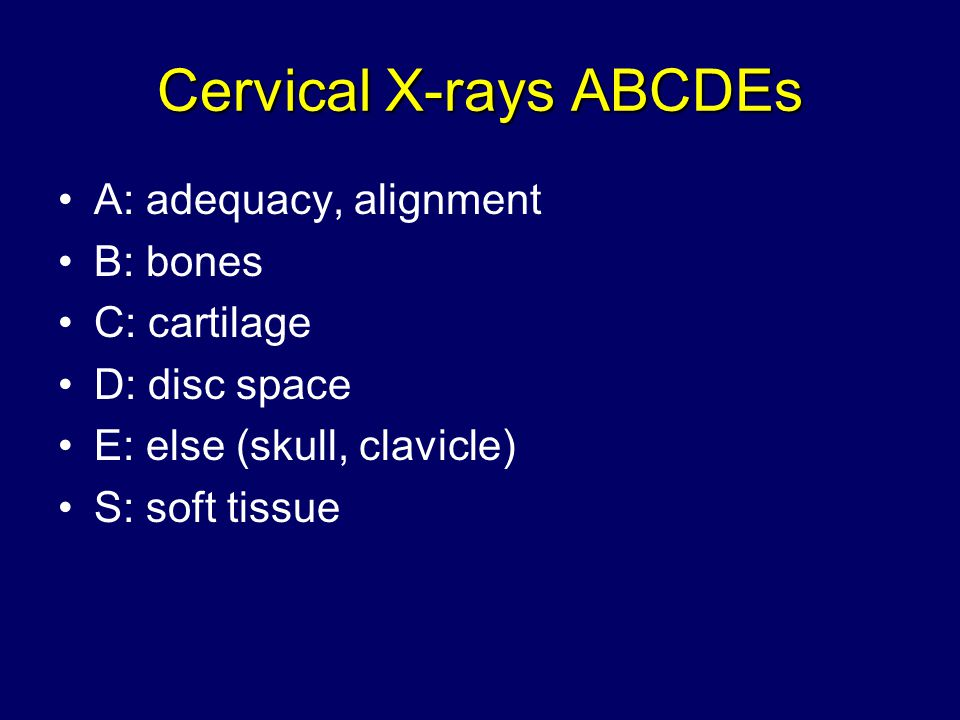 Cervical X-rays ABCDEs